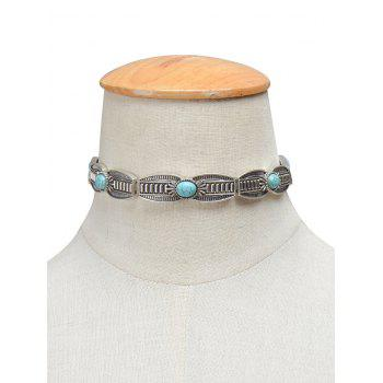 Vintage Faux Turquoise Engraved Necklace