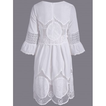 Fashionable Women's Scoop Neck 3/4 Sleeve Lace Splicing Dress - WHITE L