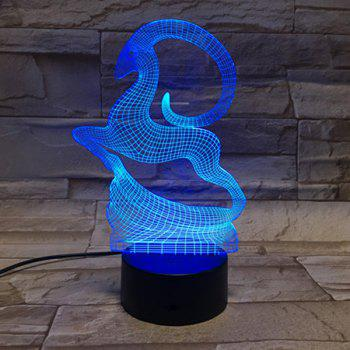 Colorful Goat Shape 3D Visual LED Bedroom Table Night Light - COLORFUL