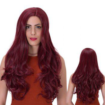 Buy Shaggy Long Side Parting Wavy Party Wig DARK RED M M/