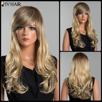 Siv Long Oblique Bang Colormix Fluffy Wavy Human Hair Wig