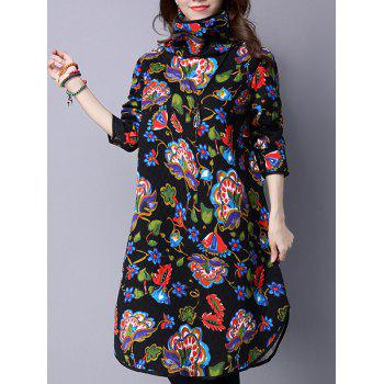 Turtle Neck Vintage Printed Midi Dress
