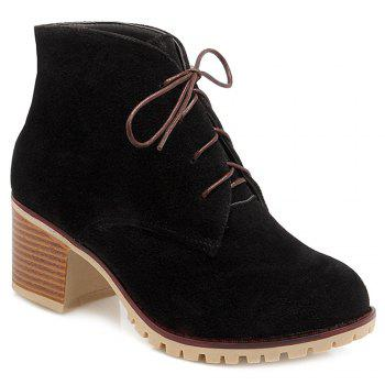 Suede Chunky Heel Lace-Up Ankle Boots - BLACK BLACK
