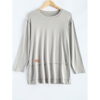 Plus Size Loose Slit Long Sleeve T-Shirt