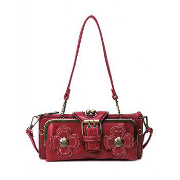 Retro Metal Trimmed Flowers Shoulder Bag