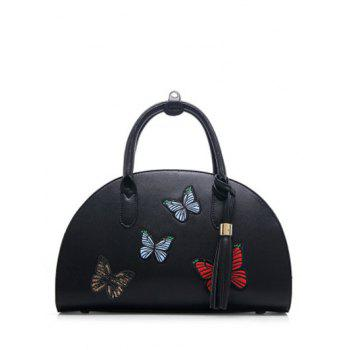 PU Leather Tassel Butterfly Embroidered Tote
