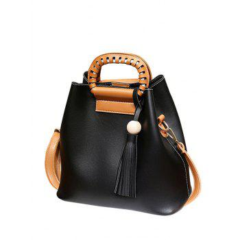 Wood Bead PU Leather Tassel Handbag