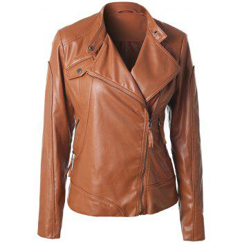Inclined Zipper Faux Leather Biker Jacket
