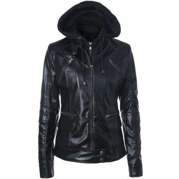 Zipper Embellished Faux Leather Biker Jacket