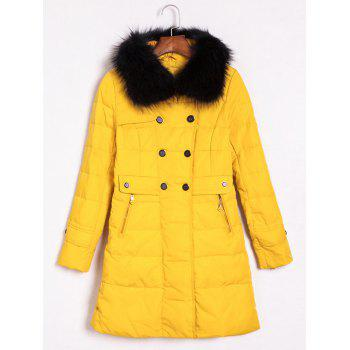 Faux Fur Embellished Double-Breasted Coat