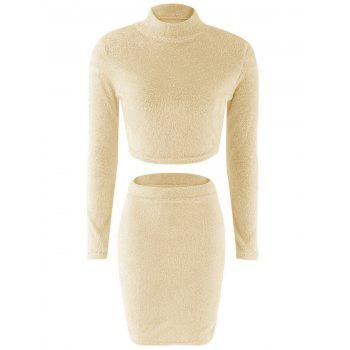 Fuzzy Crop Top + Elastic Waist Bodycon Skirt Twinset