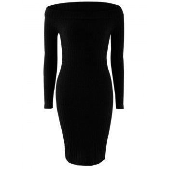 Off Shoulder Long Sleeve Skinny Knit Dress