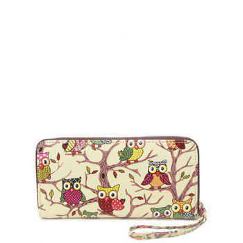 PU Leather Zip Around Owl Print Wallet