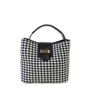Metal Colour Block Houndstooth Tote Bag