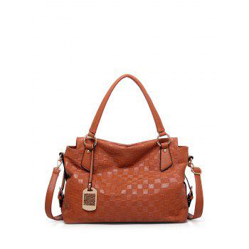 Metal Embossing Plaid Pattern Tote Bag