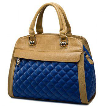 Embossed Quilted Argyle Pattern Tote Bag