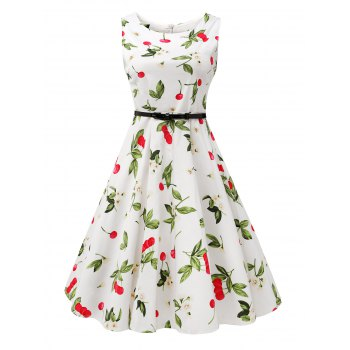 Sleeveless Cherry Print Belted Flare Dress