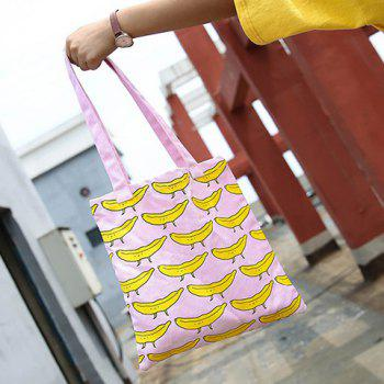 Canvas Colour Block Fruit Pattern Shoulder Bag