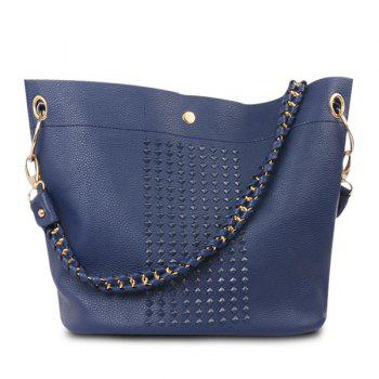 Metal Ring Rivets Magnetic Closure Shoulder Bag