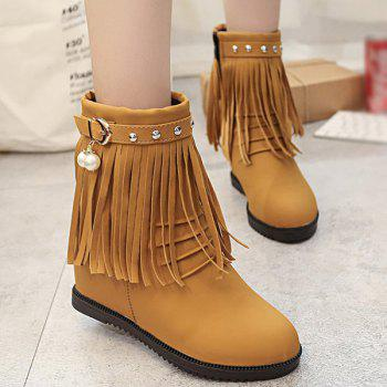 Ruched Rivet Fringe Hidden Wedge Boots
