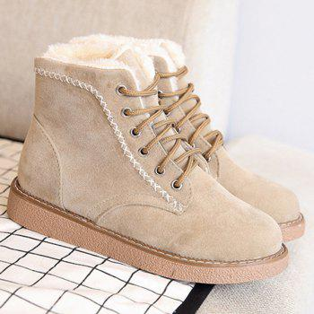 Criss-Cross Suede Lace-Up Snow Boots - APRICOT APRICOT