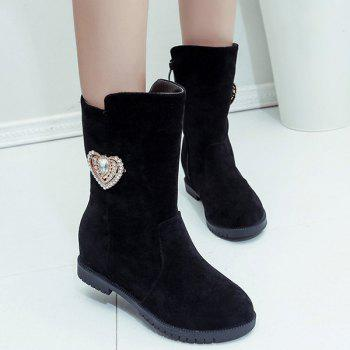 Rhinestone Heart Hidden Wedge Mid-Calf Boots