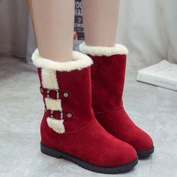 Hidden Wedge Buckle Suede Mid-Calf Boots
