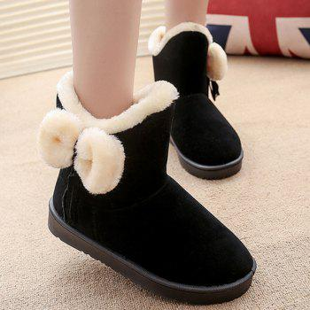 Bow Tassel Flock Snow Boots