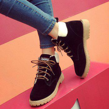 Faux Shearling Lace-Up Suede Short Boots - BLACK BLACK