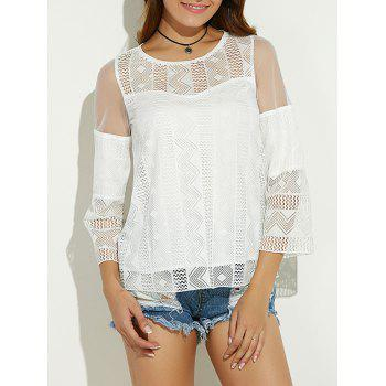 Sheer Spliced Hollow Out Blouse