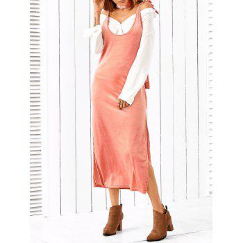 Side Slit Slip Dress With Scarf