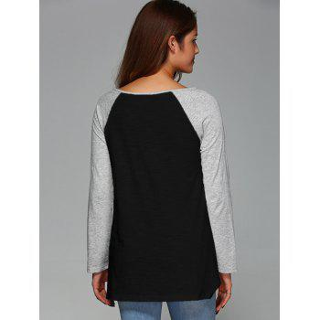 Raglan Sleeve Asymmetrical T-Shirt - BLACK M