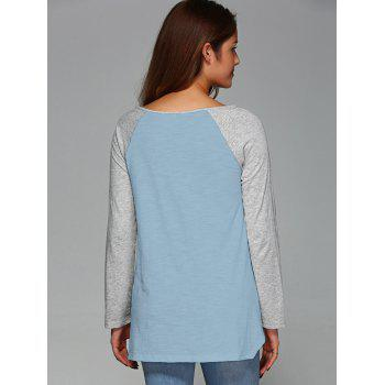 Raglan Sleeve Asymmetrical T-Shirt - LIGHT BLUE XL