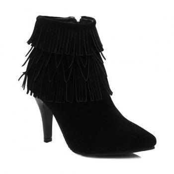 Zipper Stiletto Heel Multilayerer Fringe Ankle Boots