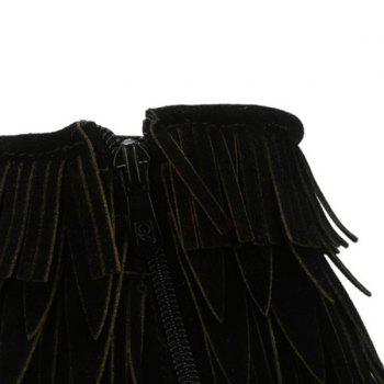 Zipper Stiletto Heel Multilayerer Fringe Ankle Boots - BLACK BLACK