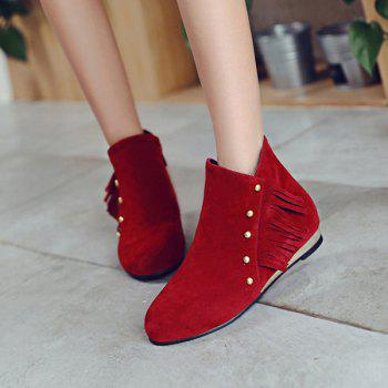 Dome Stud Flat Heel Zipper Ankle Boots - RED 38