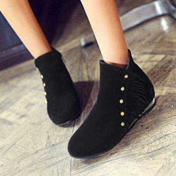 Dome Stud Flat Heel Zipper Ankle Boots - BLACK 39