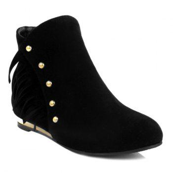 Dome Stud Flat Heel Zipper Ankle Boots