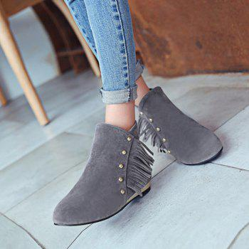 Dome Stud Flat Heel Zipper Ankle Boots - GRAY 39