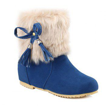 Hidden Wedge Tassels Faux Fur Snow Boots