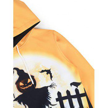 Hooded 3D Halloween Pumpkin Crucifix Bat Imprimer Hoodie - Orange 3XL