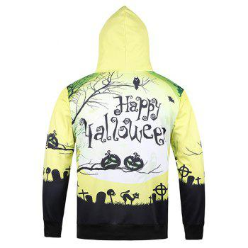 Hooded diable 3D Halloween Pumpkin Crucifix Cat Bat Imprimer Hoodie - Jaune L