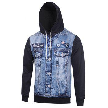 Hooded 3D Faux Denim Jacket Print Hoodie