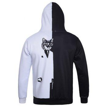 Color Block Spliced ​​Cat 3D Print Hoodie - Blanc et Noir XL