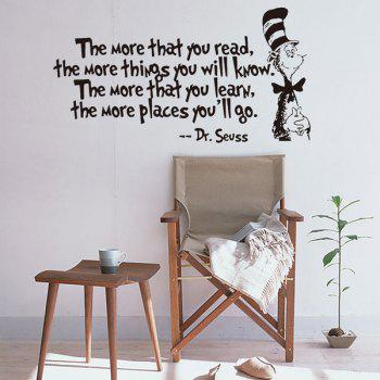 English Quote Removable Waterproof Room Decor Wall Stickers - BLACK