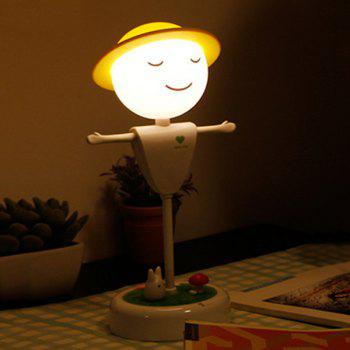 USB Creative charge Induction LED Scarecrow Micro Paysage Night Light - Blanc