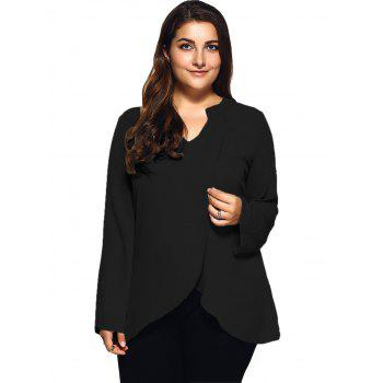 Buy Plus Size Front Slit Loose Blouse BLACK