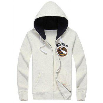 Hooded Letters Applique Zipper Flocking Hoodie