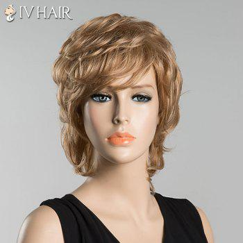 Short Slightly Curled Inclined Bang Siv Human Hair Wig - BLONDE