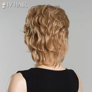 Short Slightly Curled Inclined Bang Siv Human Hair Wig - BROWN/BLONDE